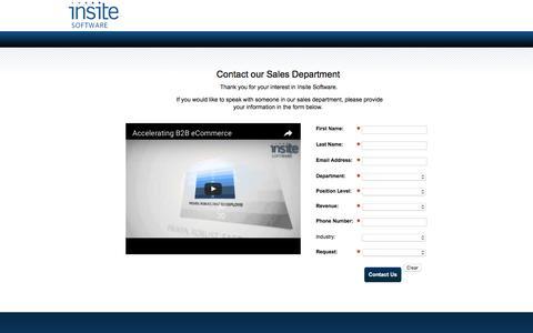 Screenshot of Landing Page insitesoft.com - Contact Us – Insite Software - captured Sept. 27, 2016