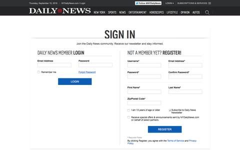 Screenshot of Login Page nydailynews.com - Login - NY Daily News - captured Sept. 15, 2016