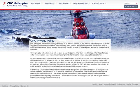Screenshot of Privacy Page chc.ca - Privacy Policy - CHC Helicopter - captured Sept. 22, 2014