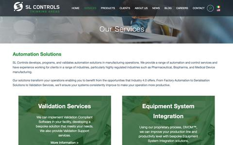Screenshot of Services Page slcontrols.com - Our Range of Services   SL Controls-Thinking Ahead - captured Oct. 1, 2018