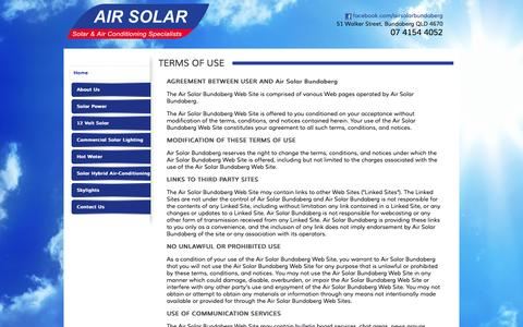 Screenshot of Terms Page airsolarbundaberg.com.au - Airconditioning Systems | Solar Power Systems  | Solar Hybrid Airconditioning | Sky Lights | Bundaberg - captured Sept. 30, 2014