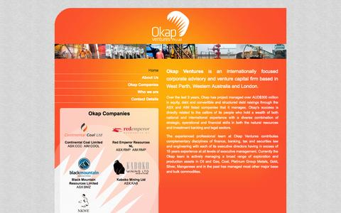 Screenshot of Home Page okapventures.com - Okap Ventures Limited - captured Sept. 30, 2014