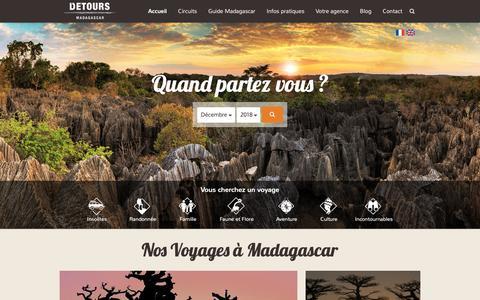 Screenshot of Home Page voyagemadagascar.com - Voyage Madagascar - Agence de voyage à Madagascar - captured Dec. 19, 2018