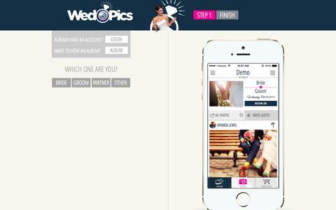 Screenshot of Signup Page wedpics.com - WedPics Signup - captured Oct. 29, 2014
