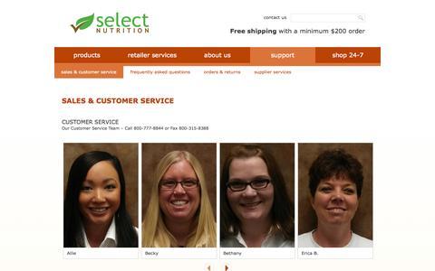 Screenshot of Support Page selectnutrition.com - Sales & Customer Service | Select Nutrition - captured Sept. 30, 2014