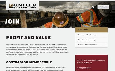 Screenshot of Signup Page unitedcontractors.org - Profit and Value - United Contractors - captured Oct. 20, 2018