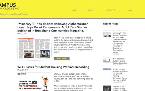 Screenshot of Press Page campustechnologies.com - News    Campus Technologies Inc (CTI)   Student Housing Internet - captured June 12, 2017