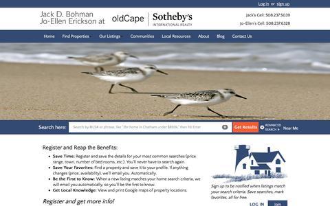 Screenshot of Signup Page bohmanthayer.com - oldCape Sotheby's International Realty - captured Feb. 7, 2016