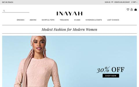Screenshot of Home Page Site Map Page inayah.com - Modest Fashion for Modern Women - Inayah - captured July 6, 2018