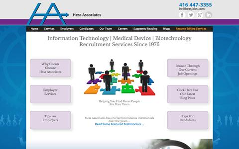 Screenshot of Home Page hessjobs.com - IT | Medical Device | Biotechnology Recruitment - Hess Associates - captured Aug. 5, 2017