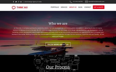 Screenshot of About Page think360studio.com - UI/UX Design Company, Web Design Agency, Web Development Firm India - captured Feb. 16, 2016