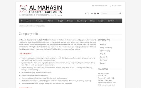 Screenshot of About Page amecuae.com - Company Info - Al Mahasin Electrical Contracting | Empowering the nation since 1988 - captured Nov. 6, 2018