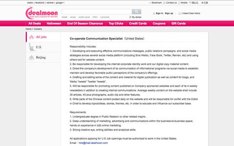 Screenshot of Jobs Page dealmoon.com - Deals, Coupons, Promotions, Credit Cards, Discounted gift cards - captured Sept. 18, 2014