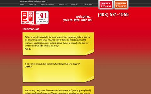 Screenshot of Testimonials Page aesecurity.ca - Testimonials	- AE Security® Systems Calgary - captured Sept. 30, 2014