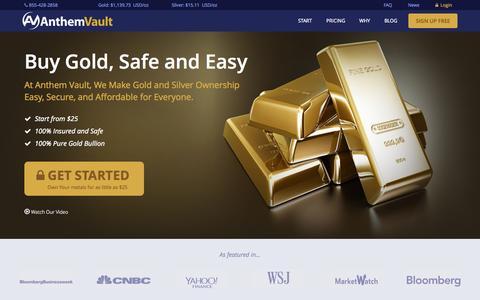 Screenshot of Home Page anthemvault.com - Buy Gold Online - AnthemVault - captured Oct. 1, 2015