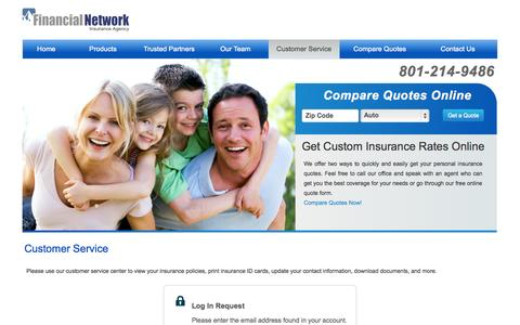 Screenshot of Support Page financialnetworkins.com - Customer Service | Financial Network Insurance Agency - captured Oct. 5, 2014