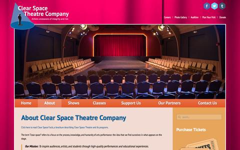 Screenshot of About Page clearspacetheatre.org - About - Clear Space Theatre - captured Jan. 28, 2016