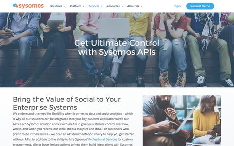 Screenshot of Developers Page sysomos.com - Social Media Analytics APIs | Sysomos - captured May 9, 2017