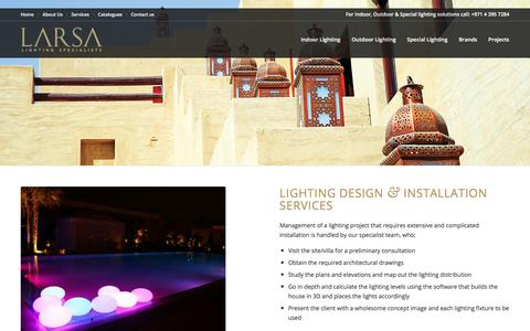 Screenshot of Services Page larsalighting.com - Lighting project management - Larsa Lighting Systems - captured Sept. 25, 2018