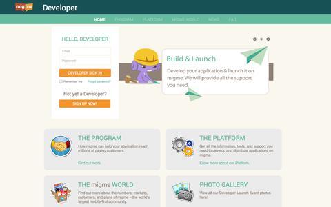 Screenshot of Developers Page mig.me - Welcome | Developer | migme - captured Sept. 16, 2014