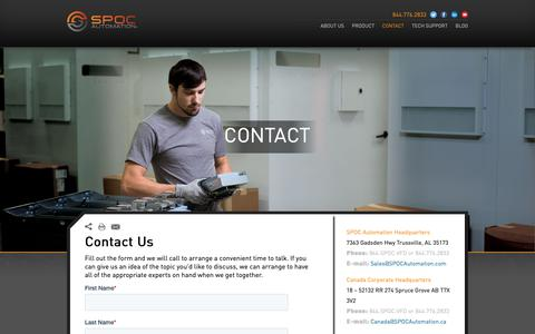 Screenshot of Contact Page spocautomation.com - Contact   SPOC Automation - captured June 7, 2019