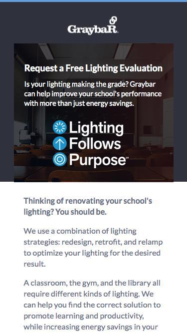 Screenshot of Landing Page  graybar.com - Request a Lighting Evaluation