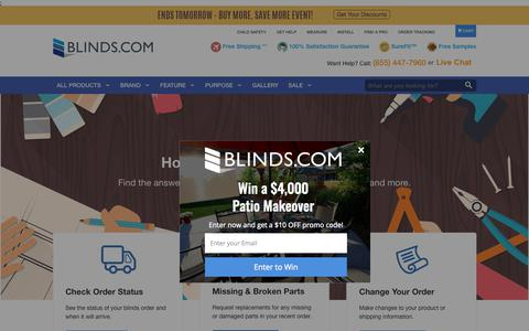 Screenshot of Support Page blinds.com - Get Help - Blinds.com - captured June 20, 2017