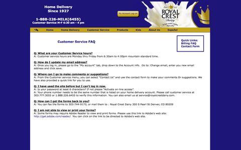 Screenshot of Support Page royalcrestdairy.com - Royal Crest Dairy - Home Delivery - captured Sept. 7, 2016