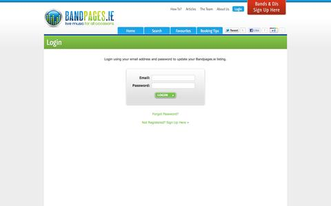 Screenshot of Login Page bandpages.ie - Login - captured Oct. 5, 2014