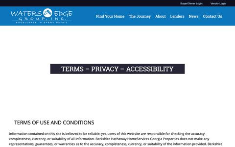 Screenshot of Privacy Page Terms Page watersedgegroup.com - Terms - Privacy - Accessibility - Waters Edge Group - captured Oct. 19, 2018