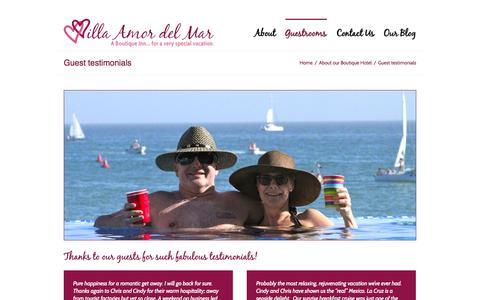 Screenshot of Testimonials Page villaamordelmar.com - Guest testimonials - Villa Amor del Mar - captured Sept. 30, 2014