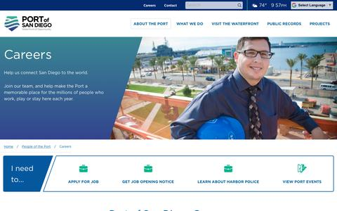 Screenshot of Jobs Page portofsandiego.org - Careers | Port of San Diego - captured July 19, 2018