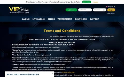 Screenshot of Terms Page vipstakes.com - VIP Stakes Terms and Conditions / VIP Rewards and Customer Service - captured Oct. 2, 2019