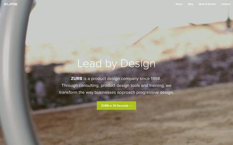 Screenshot of Home Page zurb.com - ZURB — Product Design, Interaction Design & Design Strategy - captured Oct. 1, 2015