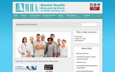 Screenshot of Support Page mhainulster.com - Mental Health Association in Ulster County  » Membership Information - captured Oct. 2, 2014
