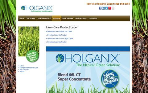 Screenshot of holganix.com - Lawn - Label - captured March 19, 2016