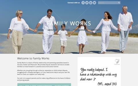Screenshot of Home Page family-works.co.uk - Family Works - Home - captured Oct. 2, 2014