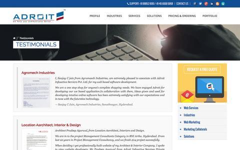 Screenshot of Testimonials Page adroitinfoactive.net - Testimonials | Adroit Infoactive Services Pvt Ltd - captured Jan. 20, 2016
