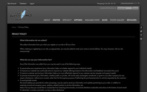 Screenshot of Privacy Page williamsknife.com - Privacy Policy - captured Oct. 9, 2014