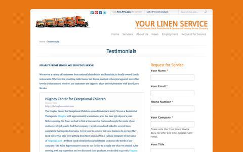 Screenshot of Testimonials Page yourlinenservice.com - Testimonials | Your Linen Service - captured Oct. 19, 2018