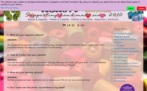 Screenshot of FAQ Page kolibribeads.com - Kolibri Bead Supplies - Ireland - Frequently asked questions - captured Sept. 20, 2018