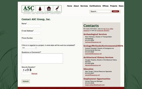 Screenshot of Contact Page ascgroup.net - Contact Us - captured Feb. 5, 2016