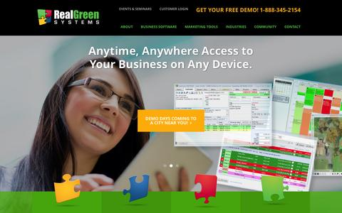 Screenshot of Home Page realgreen.com - Lawn Care & Pest Control Business Software   Real Green Systems - captured Jan. 10, 2016