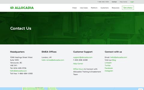 Screenshot of Contact Page allocadia.com - Contact Us | Allocadia Marketing Performance Management - captured Sept. 18, 2019