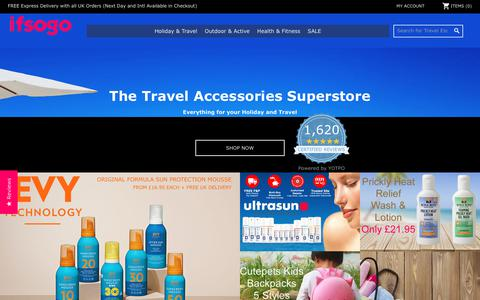 Screenshot of Home Page ifsogo.com - ifsogo - The Travel Accessories Superstore - captured Oct. 13, 2018