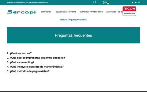 Screenshot of FAQ Page sercopilevante.com - Preguntas frecuentes - Sercopi Levante - captured Dec. 8, 2018