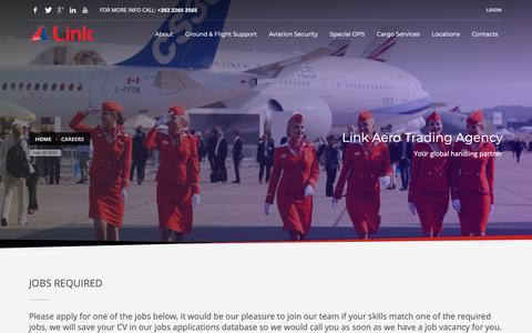 Screenshot of Jobs Page linkagency.com - Careers - Link Aero Trading Agency - captured Sept. 29, 2018