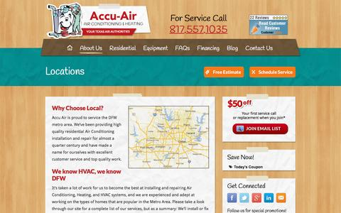 Screenshot of Locations Page accu-air.com - Locations - Air Conditioning, Arlington TX. HVAC, AC Repair and Installation - captured May 29, 2017