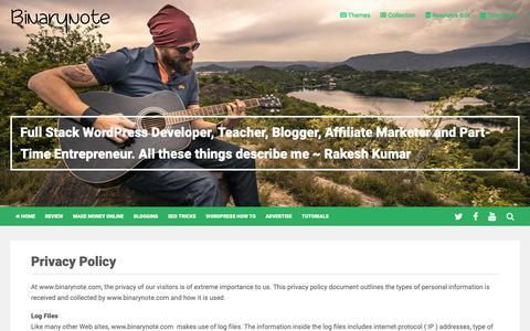Screenshot of Privacy Page binarynote.com - Privacy Policy for binarynote.com users - captured Nov. 6, 2018