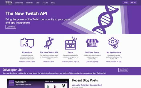Twitch Developers - home